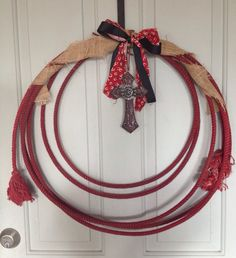 Roping Rope Wreath Cross Burlap Western Home by DixieCowgirls, $35.00...... Super cute idea!!