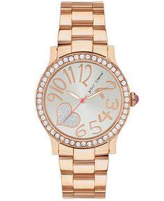 Betsey Johnson Watch, Women's Rose Gold-Tone Bracelet 40mm BJ00190-42 - Betsey Johnson - Jewelry & Watches - Macy's