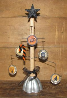 Halloween Bobbin and Wire Tree With Ornaments 7  by HumblePiePrims, $20.00  Nancy Castonia