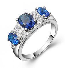 3 Oval Gemstones Cubic Zirconia CZ Ring Wholesale China