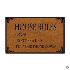 Colivy Doormat Entrance Mat - Funny Doormat - House Rules Indoor Outdoor Decoration Door Mat -- Check this awesome product by going to the link at the image. (This is an affiliate link)