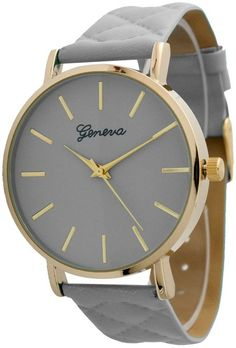 Women's Large Gold Trim Geneva Quilted Leather Watch - Grey