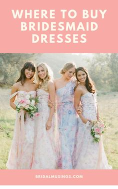 Planning a mix & match bridal party? Shop these gorgeous bridesmaid dresses from our favorite online bridesmaid dress shops #bridesmaids #bridesmaiddresses #bridalparty #plumprettysugar
