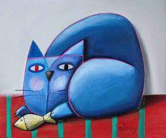 Gato azul olhando peixe  - Gustavo Rosa