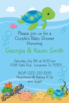 Turtle Baby Shower Invitations  -  Get these invitations RIGHT NOW. Design yourself online, download and print IMMEDIATELY! Or choose my printing services. No software download is required. Free to try!