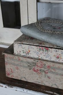 Old fabric covered boxes