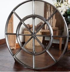 Interior round window mirror for interior display .. perfect over mantle and console space