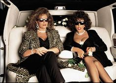 Jackie Collins and Joan Collins, 1987, by Annie Leibovitz