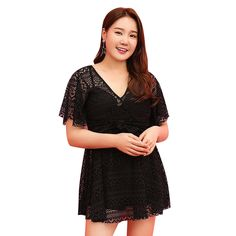 28.71$  Watch now - http://ali9fy.shopchina.info/1/go.php?t=32817987199 - Women One Piece Swimsuit Fused Solid Color Plus Size Swimwear Hollow Out Swim Dress V Neck Short Sleeve Women's Swimsuits Sexy  #magazineonline