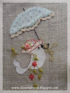 cute embroidered bird with umbrella - De Todo Un Poco: FUNDA PARA AGENDA CON APLIQUE Y BORDADO