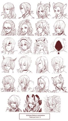 Inspiration: Hair Expressions ----Manga Art Drawing Sketching Head Hairstyle---- [[[Batch15 by omocha-san on deviantART]]]: