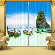 2 Panels 3D Funny Cat Fishing Beach Blockout Mural Drapes Curtain Fabric Window