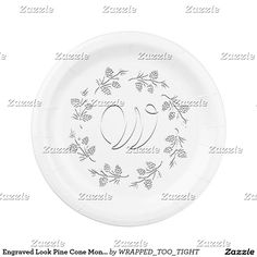 Engraved Look Pine Cone Monogram Paper Plate  sc 1 st  Pinterest & Any Occasion Swoosh Personalize Paper Plate | Paper Plates and ...