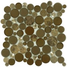 """Taupe Fizzle Brown Circles Glass and Stone """"Glossy, Frosted & Polished"""" Tile"""