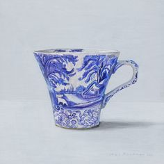 Darling blue and white tea cup watercolour