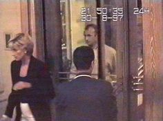 Diana is captured in this security video footage entering the Ritz Hotel in Paris prior to a dinner with Dodi Al Fayed, whom she was in a relationship with at the time of her death