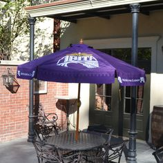Keep Cool In The Shade With This Beautiful Purple Outdoor Abita Umbrella!  Contructed With A Durable Wood Frame And Weather Resistant Material, This  Umbrella ...