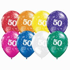 """Add fullness and festivity to your 50th birthday or anniversary celebration with these generic """"50"""" latex balloons!  Each package of 50 balloons contains a variety of jewel tones such as red, green, blue, yellow, orange, purple, and more"""