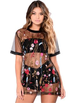 Floral Embroidery Sheer Mesh Tee Dress_Mini Dress_Dresses_Sexy Lingeire | Cheap Plus Size Lingerie At Wholesale Price | Feelovely.com