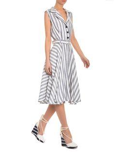 54d9a4ef5 Vestido Listrado Botões Frontais - Apartamento 03 - Branco - Shop2gether