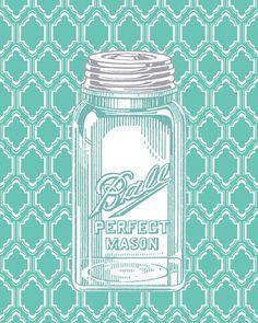 Ball Mason Jar Art Print.