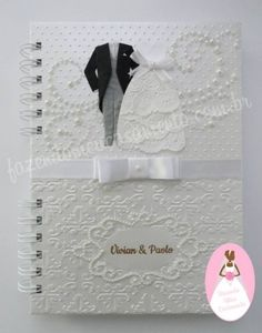 Agenda da noiva com pasta e caixa coordenadas