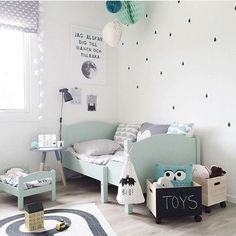 Black, white and mint green #kids #room #bedroom