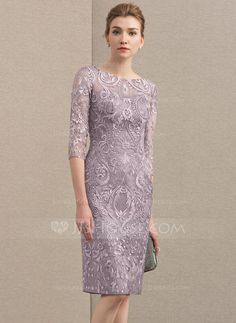 [US$ 142.00] Sheath/Column Scoop Neck Knee-Length Lace Mother of the Bride Dress (008152119)