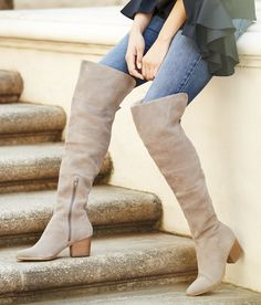 Taupe suede over-the-knee boots with comfortable stacked heels. Style these with dresses and skirts in the fall, and denim in the winter! | Sole Society Melbourne
