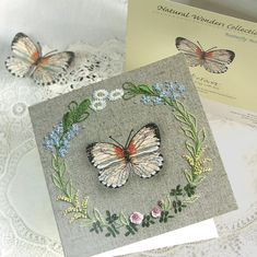 This card is perfect for anyone who loves butterflies or embroidery, reminding us of spring and summer in the garden.