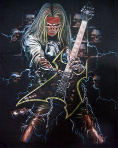 skeleton with guitar images Arte Heavy Metal, Heavy Metal Music, Iron Maiden Posters, Grim Reaper Art, Rock Band Posters, Skull Pictures, Skull Artwork, Skeleton Art, Skull Wallpaper