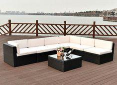 Wicker Outdoor Furniture 7Pc Rattan Cushioned Sectional Sofa Set Lawn Pool Patio #SmartDealsMarket