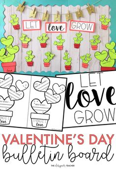 Create an an adorable cactus Valentine's Day bulletin board display while encouraging students to reflect on the things they love. Includes a craftivity version and low prep version with tons of different options! #teaching #bulletinboard #valentinesday