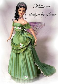 """This use of pleated material is intriguing, giving the costume a """"theme"""" unlike any other.  I like the fact that the wings are subtle as well, not distracting from the gown."""