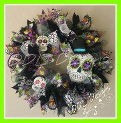 Day off the Dead Halloween wreath on Deco Www.facebook.com/ddldesigns.com DDL Designs