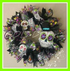 Day off the Dead Halloween wreath on Deco Www.facebook.com/ddldesigns.com DDL Designs