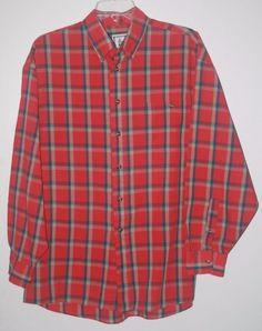 London Fog Red Plaid Button Front Shirt Large Long Sleeve L #LondonFog #ButtonFront