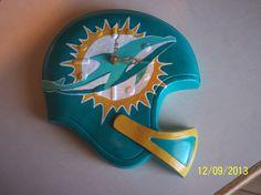 Miami Dolphins helmet clock, hand painted ceramic