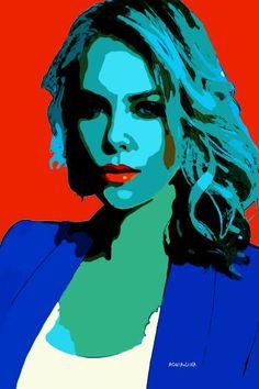 "Saatchi Art Artist ACQUA LUNA; Painting, ""24-Pop Art. CHARLIZE THERON III."" #art"