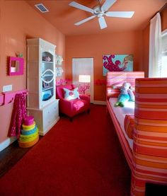 Bedroom Designs, The Fantastic Red Carpet With Orange Wall Painting And Single Pink Chair Diy Girls Bedroom Ideas: Making Your Eyes Wide Open With The Girl Room Decor Ideas Girls Bedroom, Teenage Girl Bedrooms, Girl Bedroom Designs, Bedroom Decor, Bedroom Ideas, Small Bedrooms, Bedroom Colors, Eclectic Bedrooms, Design Bedroom