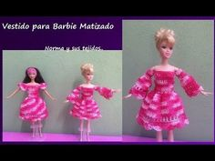 Vestido para Barbie Matizado - YouTube Crochet Dolls Free Patterns, Crochet Doll Pattern, Crochet Doll Dress, Crochet Clothes, Barbie Dress, Barbie Clothes, American Girl, Doll Videos, Ken Doll