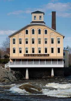 Bowdoin Mill building and Androscoggin River, Topsham, Maine; would love to sit and have a beer here!