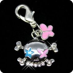 PURELY CHARMING Enameled Pet Charm/Pendant with Handset Swarovski Crystals - Clown Skull and Butterfly -- Additional details at the pin image, click it  : Dogs ID tags and collar accessories