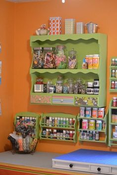 Great idea! Use spice racks for paint storage.