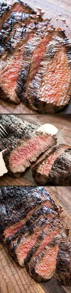 Grilled Marinated Flank Steak ~ A melt in your mouth flank steak that is cooked quickly with a high heat.  The marinade of soy sauce, honey and garlic does the trick for this cut of meat.