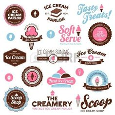 Set of vintage and modern ice cream shop badges and labels photo