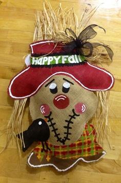 Scarecrow  burlap door hanger by AdoorableBurlaps on Etsy, $50.00