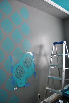 {simply sadie jane}: stencil paint...flat wall in bedroom?
