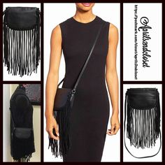 "Black Genuine Suede Fringe Vegan Leather Crossbody NEW WITH TAGS   Black Fringe Vegan Leather Bag  * Allover faux leather w/long genuine suede fringe  * Crossbody or carry as a clutch  * Top zip closure, & interior slip pockets  * Approx. 7.5"" W (18"" w/fringe trim) x 6.5"" H x 1.5""D  * Approx. a 18.5""-22"" adjustable strap drop.   * Boho vibe Material: PU exterior & polyester lining, & genuine suede fringe. Color: Black   No Trades ✅ Offers Considered*/Bundle Discounts✅ *Please use the 'offer'…"