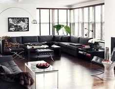 Beautiful living room - greys and black